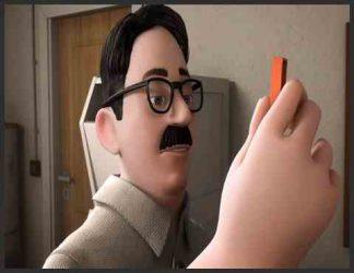 معلمی در انیمیشن که گچ به دست دارد