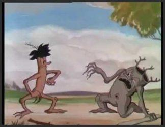 دوتا درخت انیمیشنی که دارن با هم دعوا میکنن