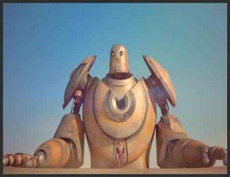 یک روبات قهوه ای رنگ ایستاده