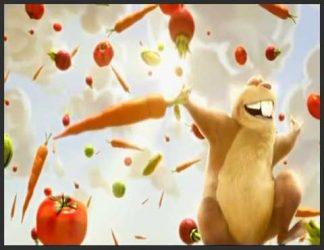 سنجاب انیمیشنی که روی سر آن هویج و گوجه میبارد