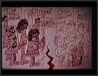 دو گروه انیمیشنی که روبروی هم ایستاده و شعار میدهند